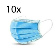 (Pack of 10) 3-Ply Face Mask, One Size Fits All, Disposable - Blue