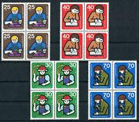 4 x Bund 800 - 803 VB postfrisch Viererblock BRD Jugendarbeit 1974 ungefaltet