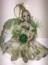 """13"""" Elpe By Helga Hoffman Of Germany 98' No. 2 Handmade Felted Wool Green Fairy"""