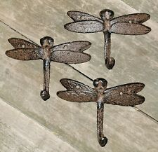 3 Cast Iron Dragonfly Towel Hanger Coat Hat Hooks, Key Rack Garden Hook