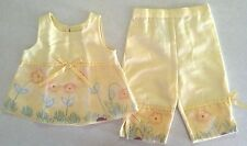 NWOT Girl's Size 12 M Months Two Piece Thomas Outfit Yellow Floral Top & Pants