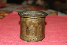 Antique India Brass Bronze Religious Cup Marked India MF18 Engraved Patterns