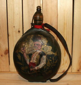 Antique folk hand painted wood wine/brandy bottle pitcher flask