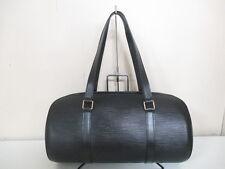 Authentic LOUIS VUITTON Epi Soufflot M52222 Noir Handbag MI0917 w/ Pouch