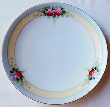 Vintage Meito China Japan Art Deco Plate Blue Rim Yellow Bands Pink Flowers