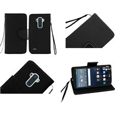 For LG G Stylo LS770 Premium Leather Flip Wallet Card Holder Cover Case + Strap