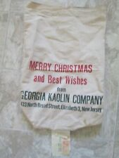 Vintage Textile Cloth Sack Bag MERRY CHRISTMAS from GEORGIA KAOLIN COMPANY