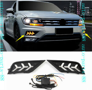 Front Bumper LED Fog Light DRL running light Cover For VW Tiguan 2018 2019 2020