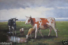 """24""""x36"""" Hand Painted Oil on High Quality Stretched Canvas ~Family of Cows~"""