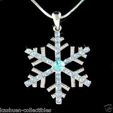 Big w Swarovski Crystal Blue SNOWFLAKE Snow Xmas bridal Wedding Necklace Jewelry