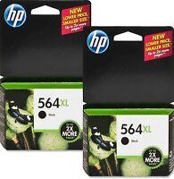 2 HP 564XL BLACK Genuine Ink Cartridge PhotoSmart C6324 C309g C5300 C5324 C5370