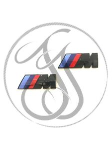 2x BMW M Sport Side Fender Badge Logo Emblem Gloss Black 1 2 3 4 5 6 7 Series