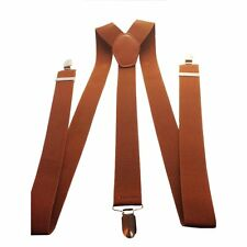 Mens Braces Elastic Suspenders Wide Brown Clip on Trousers Jeans Shorts 35mm
