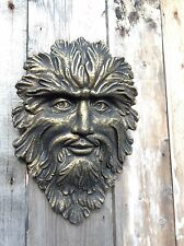 Large Bronzed Green Man Wall Plaque Stone Garden Ornament Pagan Wiccan
