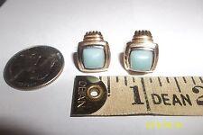 Earrings light green glass stone Sterling Silver Gold Plate Post