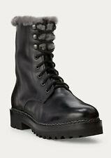 Ralph Lauren Purple Label Black Jenkins Leather Shearling Fur Boots New $1750