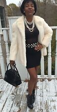 Designer Classy blonde soft white Mink Fur coat jacket Stroller Bolero S-M 0-6/8