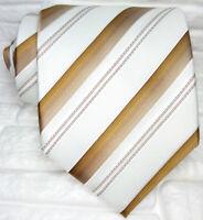 Cravatta righe Uomo 100% seta Made in Italy bianca marrone business evento