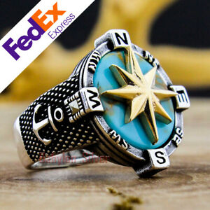 925 Sterling Silver Turkish Handmade Turquoise Stone Compass Men's Ring All Size