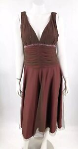 JS Boutique Formal Dress Size 14 Red Beaded Shirred Waist Deep V Neck Midi
