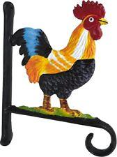 More details for painted chicken cockerel garden hanging basket bracket - cast iron