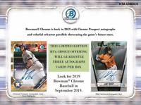 2019 BOWMAN CHROME BASEBALL HTA CHOICE RANDOM PLAYER 1 BOX BREAK - 3 AUTOS #1