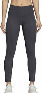 adidas Ultimate High Rise Embossed Womens Long Training Tights - Grey