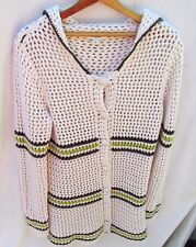 Banana Republic Crocheted Cardigan Striped Button Down Sailor Collar Woman L