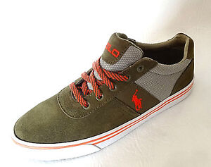 Polo Ralph Lauren mens PONY HANFORD olive suede mesh sneakers shoes 9 10 NEW