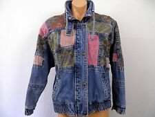 Vintage 80s New York Girl Patch Work Jeans Jacket Double Collar Zipper and Snaps
