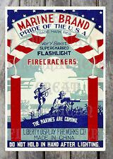 VINTAGE POSTER REPRINT MARINE BRAND PRIDE OF THE USA FIRECRACKERS M80'S, ETC