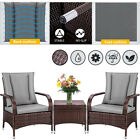 3 Pieces Patio Furniture Set PE Wicker Outdoor Sofa Table Chairs w/ Cushions
