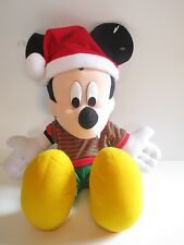 """Disney Mickey Mouse 20"""" Christmas Plush w/Santa Hat & Green/Red Striped Sweater"""
