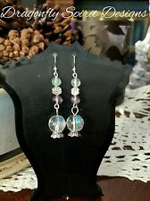 Handcrafted Wiccan/Pagan/Goth Magical Spiritual Fluorite Crystal Ball Earrings.