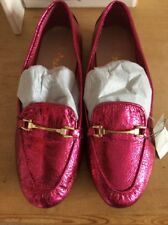 NEXT Girls Shiny Hot Pink Loafers Size UK 3 ⭐️BNWT⭐️ Cost £21