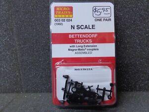 N 1-Pair Bettendorf Trucks w/ Long-Extension Couplers - Micro Trains #00302024