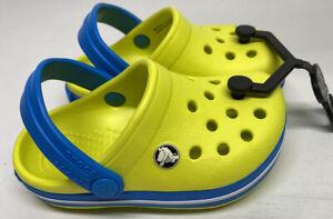 Crocband Clog K Tennis Ball Green/Ocean Blue Relaxed Fit Kids J2 Crocs