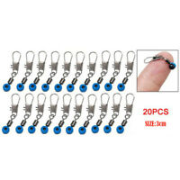 20pcs/set Blue Fishing Line to Hook Clip Connector Swivels Shank Clip Connector