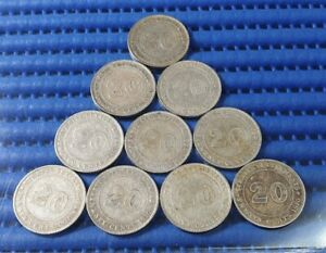 1910 Straits Settlements King Edward VII 20 Cents Silver Coin (Price Per Piece)