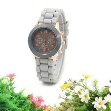 Ladies Fashion Geneva Grey Faced Rose Gold Quartz Silicon Grey Band Wrist Watch.