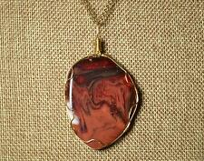 Red Fantasy glass wire wrapped pendant