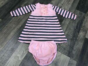 Janie and Jack Parisian Park Pink & Gray Stripe Dress Set Size 18-24