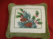 "NEW/OLD Handmade COMPLETE NEEDLEPOINT PINES & HOLLY 13"" x 15"" PILLOW Bordered"