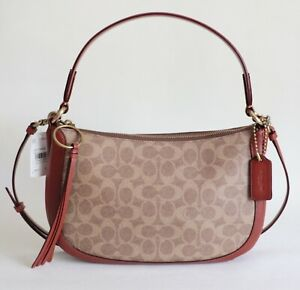 NWT COACH SUTTON SIGNATURE CROSSBODY TAN RUST