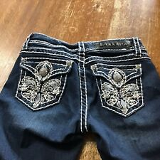 LA Idol Capri Jeans Size 3 Cropped Rhinestones Bling Dark Wash Thick Stitch