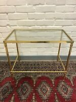 Vintage Occasional Table Glass Top - Brass Frame