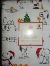 Pottery Barn Kids Organic Peanuts Snoopy Flannel Holiday Twin Sheet Set