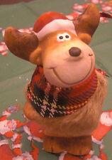 Weihnachten Rentier Elch Fell Stoffschal 10x6 cm stehend hell Keramik Deko Neu