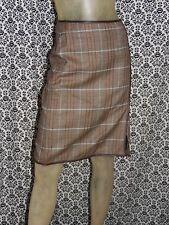 Banana Republic Brown & Blue Plaid 100% Wool A Line Skirt Skirts Womens 0 USED