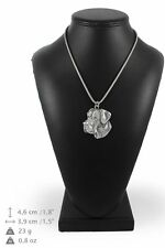 Great Dane - silver plated necklace with silver cord, high quality, Art Dog